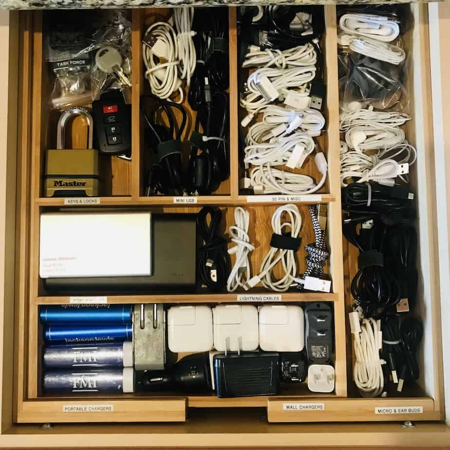 Organize Cables and Chargers in a Cutlery Tray