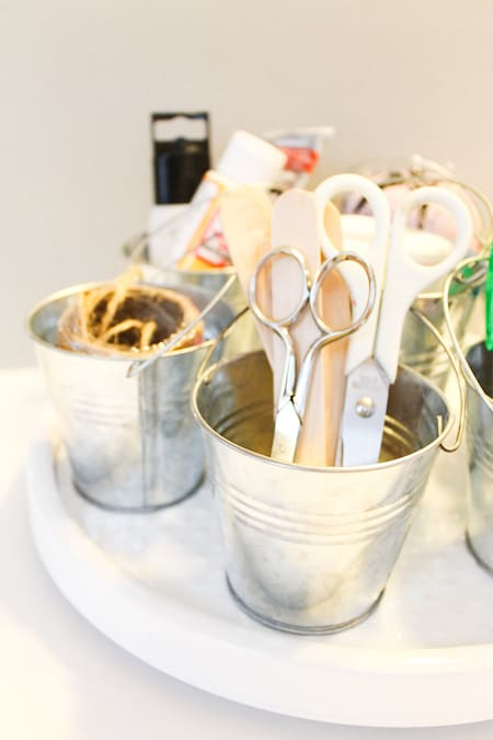 Organize with a Lazy Susan: craft supplies